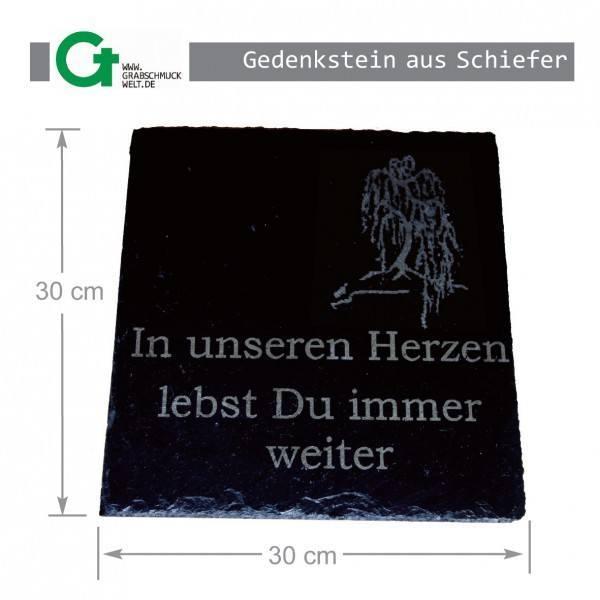 Gedenkstein aus Schiefer, 30 x 30 cm