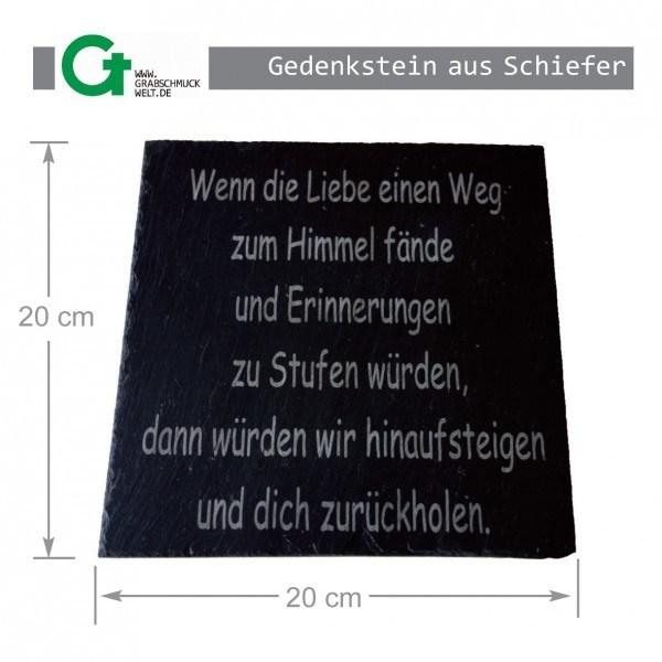 Gedenkstein aus Schiefer, 20 x 20 cm