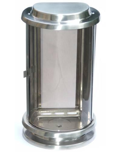 Halbrunde Grablampe aus Edelstahl
