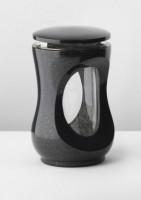 Kleine Grablaterne aus Granit, schwarz, 20 cm hoch